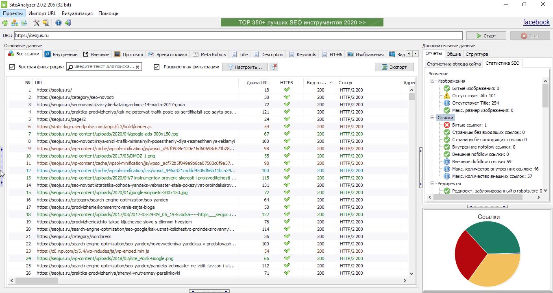 найти битые ссылки на сайте site-analyzer.ru