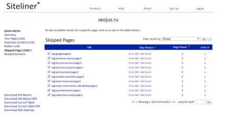 найти битые ссылки на сайте Siteliner