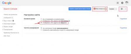 указать главное зеркало сайта для Google
