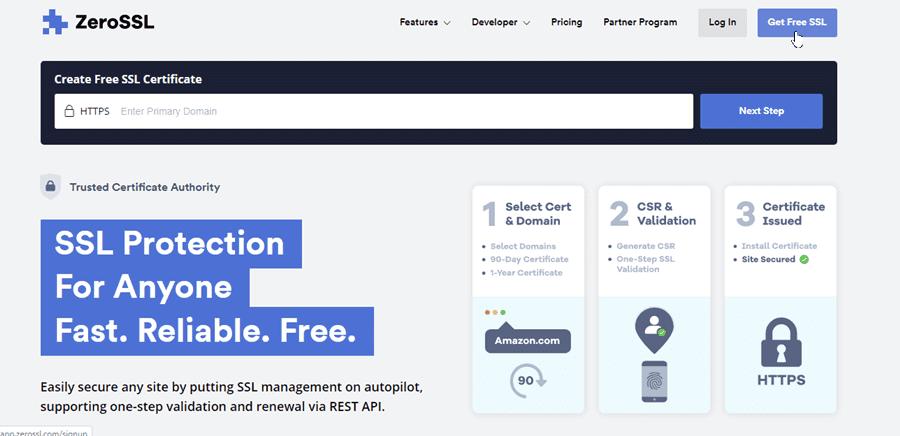 бесплатный SSL сертификат ZeroSSL